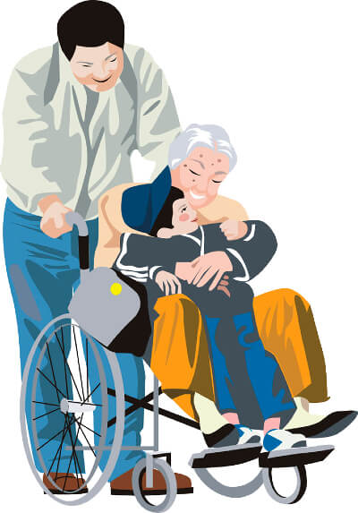 Clipart image of an elderly woman in a manual wheelchair hugging a small boy. A man stands behind the wheelchair with his hands on the push handles.