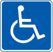 The universal symbol for disability, a white stick figure in a wheelchair.