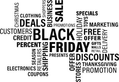 Black and white word cloud featuring words related to discounts and deals.
