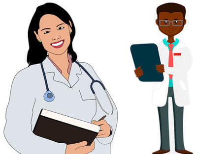 Clip art image of female and male doctor.