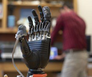 A prosthetic hand equipped with the new experimental e-dermis - Image Credit: Larry Canner/JHU