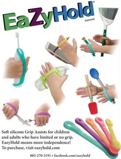 Soft silicone Grip Assists for children and adults who have limited or no grip. EazyHold means more independence. To purchase, visit eazyhold.com (Image Credit: EazyHold)