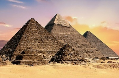 The three famous pyramids located at Giza, Egypt: From left to right the pyramids are called; Menkaure, Khafre, and Khufu. The far pyramid is known today as the Great Pyramid.