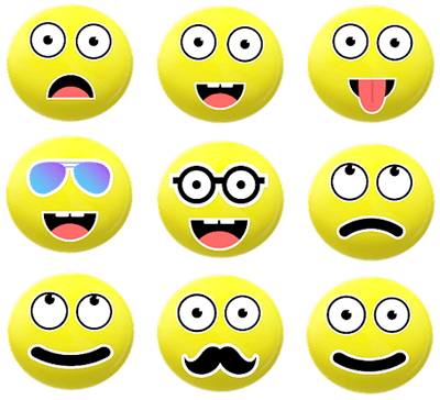 Nine round yellow chat emoticons with different facial expressions.