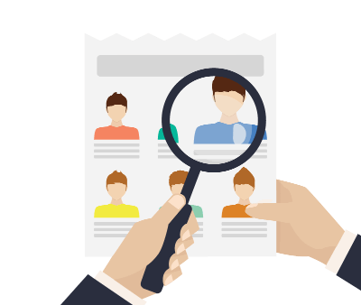Clipart image of person looking at job applications through magnifying glass.