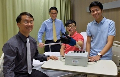 A research team from the National University of Singapore has developed a new lightweight and smart rehabilitation device called EsoGlove to help patients who have lost their hand functions due to injuries or nerve-related conditions to restore their hand movements. Photo Credit: National University of Singapore