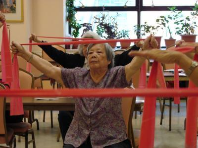Shown here is a participant in an exercise class offered by Hospital for Special Surgery at a senior center in New York City's Chinatown. Photo Credit: Hospital for Special Surgery.