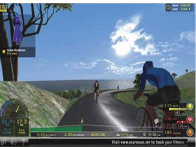 This is a sample screenshot showing scenery and competitors/avatars on an Expresso cybercycle bike tour exergame