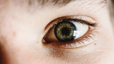 Blue and brown cornea in an eye, eyelids, and eyebrow - Photo Credit: Liam Welch on Unsplash.