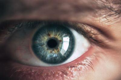 Closeup photo of a human eye.