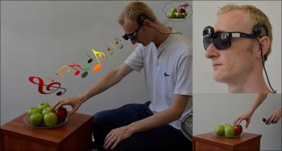 Left: Illustration of the EyeMusic SSD, showing a user with a camera mounted on the glasses, and scalp headphones, hearing musical notes that create a mental image of the visual scene in front of him. He is reaching for the red apple in a pile of green ones. Top right: This is a close-up of the glasses-mounted camera and headphones; Bottom right: This is the hand-held camera pointed at the object of interest. Photo Credit: Maxim Dupliy, Amir Amedi and Shelly Levy-Tzedek.