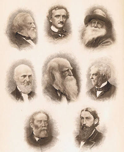 Scan of the frontispiece of An American Anthology (1787-1900) by Edmund Clarence Stedman, ed. Houghton, Mifflin and Company. Pictured: center: William Cullen Bryant; clockwise from top: Poe, Whitman, Holmes, Lanier, Lowell, Whittier, Longfellow.