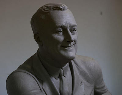 Detailed photo of clay FDR sculpture