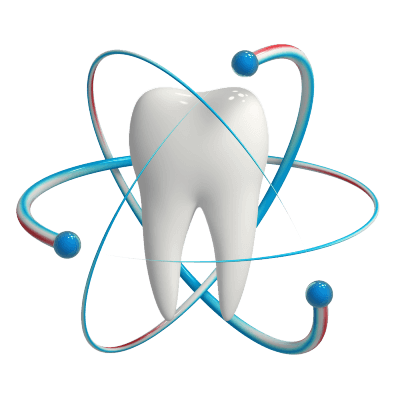 Illustration of a tooth surrounded by red, white, and blue toothpaste in simulated atom orbits.