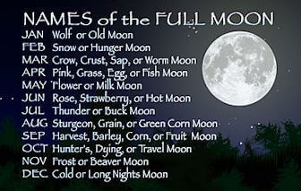 Different names for a full moon according to the month of the year it occurs.