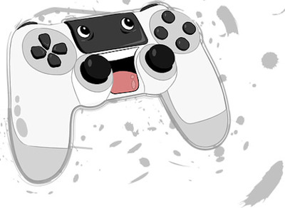 Black and white clipart image of a gaming controller with eyes and pink tongue.