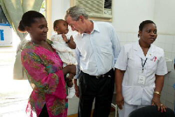 President Bush visits PEPFAR supported AIDS Clinic in Dar es Salaam, Tanzania on World Aids Day