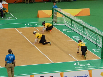Australia vs Canada in a game of Goalball.