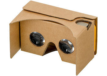 Google Cardboard VR headset, shown assembled with an iPhone 6s in the visor slot. Google Cardboard is an inexpensive container and plastic lenses designed to turn a phone or small tablet into a VR headset.
