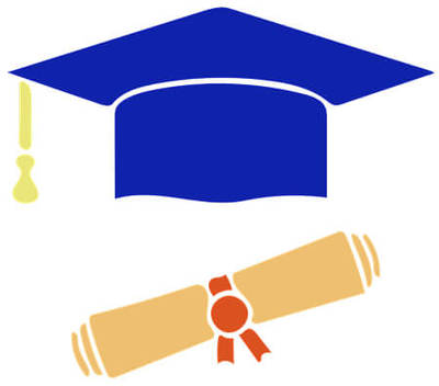 Clipart image of blue graduation hat with yellow tassel and certificate scroll tied with red ribbon.