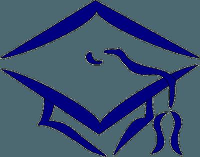 Clipart outline image of blue graduation hat