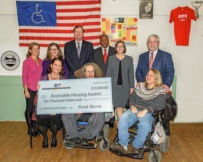 Accessible Housing Austin! (AHA!), Austin's only housing nonprofit led by members of the disability community, today received a $10,000 Partnership Grant Program (PGP) award from Frost Bank and the Federal Home Loan Bank of Dallas (FHLB Dallas). Photo Credit: FHLB Dallas