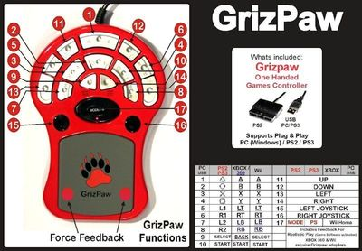 Grizpaw one hand game controller