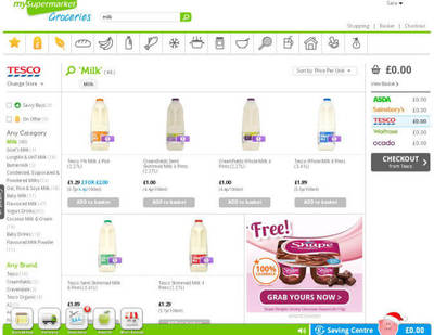 Example screenshot of milk products and groceries