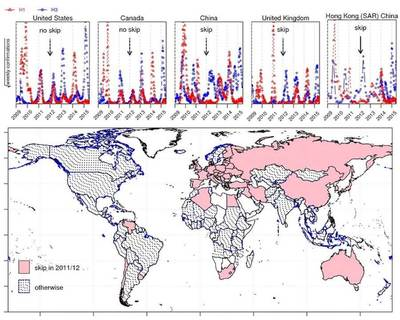 Spatio-temporal patterns of H1N1 pdm and H3N2