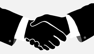 Black and white illustration of two business men shaking hands.