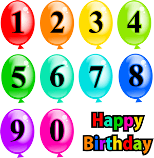Birthday balloons with the numbers 0 to 9 on them. Happy Birthday is written in colored letters at bottom right.