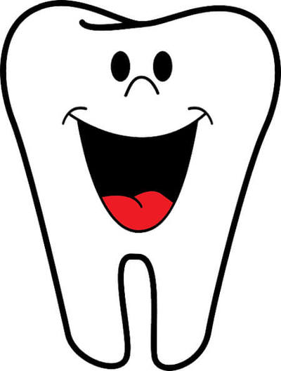 Clipart image of a tooth with a smiling face.
