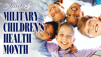 Banner displaying the words - April is Military Children's Health Month - Image Credit: Steve Thompson