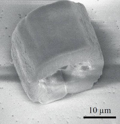 Using an inexpensive laser and an ultrathin optical fiber, the researchers created hollow microstructures such as the one shown here. They were able to create microstructures with a 1.0-micron lateral (side-to-side) and 21.5-micron axial (depth) printing resolution - Image Credit: Paul Delrot, École Polytechnique Fédérale de Lausanne.