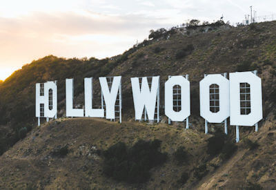 The famous white Hollywood sign on the Hollywood Hills, California