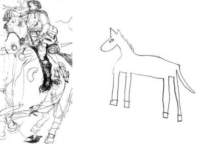 This is a drawing of a horse by Nadia, a gifted autistic child artist (left) and by a typically developing child of the same age (right) - Image Credit: Penny Spikins, University of York.