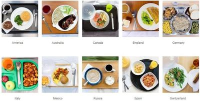 Fig 1. Image shows variety of hospital food from around the world. Top Left to Right (1) USA – Chicken pot pie, broccoli, chocolate chip cookie, coffee, (2) Australia – Plum chicken, rice, chopped apple, cranberry juice, (3) Canada – Baked salmon, peas and carrots, corn, water, (4) UK – Cornish pasty, savoy cabbage, rice pudding, tea, (5) Germany – Creamed beef, peas and corn, strudel, bread, Bottom Left to Right (1) Italy – Gnocchi with tomato sauce, water, fresh fruit (apple and plum), (2) Mexico – Omelet with tomato and pepper salsa, chopped papaya, water, (3) Russia – Buckwheat pudding, cottage cheese, coffee, (4) Spain – Spicy sausage (chorizo) and pepper rice, fruit salad, orange juice, (5) Switzerland – Quiche, fig and walnut salad, éclair, apple juice. Image and Information Credit: (Sunbelt Staffing - sunbeltstaffing.com)