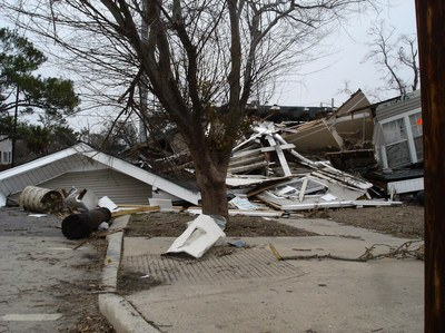Hurricane aftermath photo showing demolished houses.