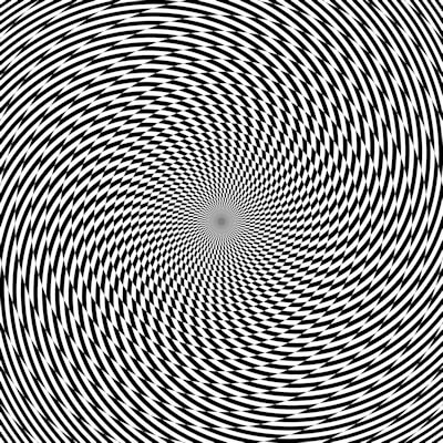 Hypnotic black and white checkerboard spiral image gives the illusion of movement.