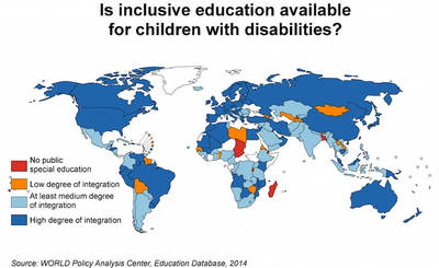 Shaded world map statistics to the question: Is inclusive education available for children with disabilities?