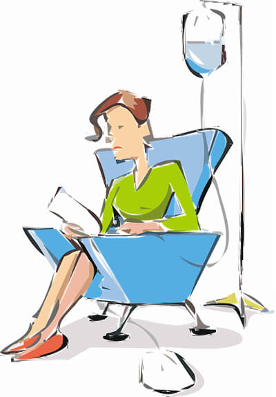 Clipart image of a woman receiving infusion chemotherapy.