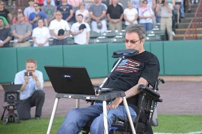 Dave Whalen performing The Star Spangled Banner on a Jamboxx before the New York-Penn League teams second home game of the season against the Vermont Lake Monsters at the Joseph L. Bruno Stadium in Troy, N.Y. - Photo Credit: Duncan Crary (Duncan Crary Comm.)