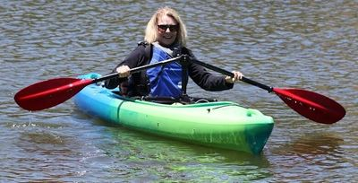 Angle Oar paddling system in use in a kayak