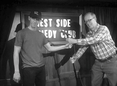 "Kevin (left) and Tom Willard ""fight over the mic"" after doing an open mic together at the West Side Comedy Club in New York, Dec. 3, 2018.  Tom has been doing standup since the summer of 2016 and Kevin started performing recently."