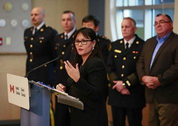 Minister of Health, Leona Aglukkaq announces proposed new Marihuana for Medical Purposes Regulations in Maple Ridge, BC.