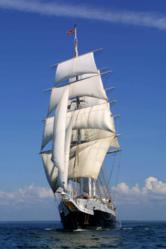 Tall ship the Lord Nelson under sail