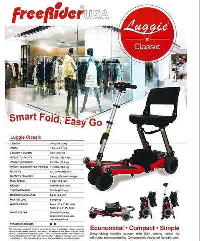 Luggie portable mobility scooter specifications