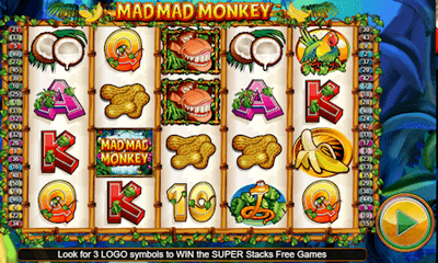 Screenshot of the Mad Mad Monkey online slot game.