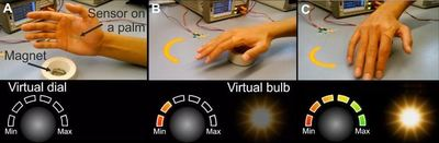 Controlling virtual light bulbs without touching them - HZDRs ultrathin electronic magnetic sensor makes it possible. Depending on the fields of a permanent magnet, the movement and the position of the hand, on which the sensor is attached like a second skin, are translated onto a virtual scale that then controls light intensity - Image Credit: D. Makarov.