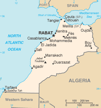 Map of Morocco showing the location of Rabat the capital city. The border with Algeria can be clearly seen.